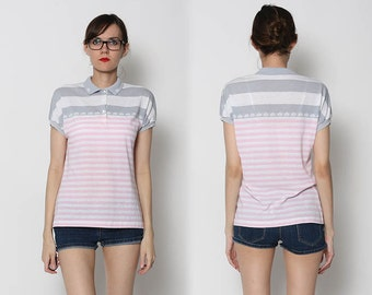 Vintage 80s Pink and Grey Polo Shirt