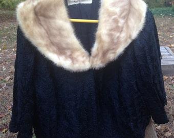 Vintage Fur Trim Sweater / Cardigan - Retro Womens Clothing