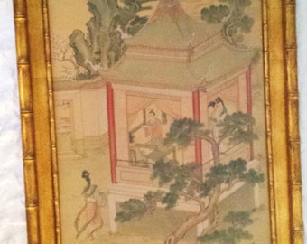 Huge Antique 1940's Chinese Silk Painting, Gilt Bamboo Wood Frame