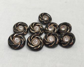 Vintage 1960s Black & Gold Rhinestone Buttons- 9