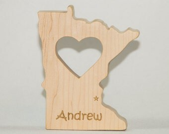 Wooden Baby Teether State of Minnesota Personalized Baby Teething Toy
