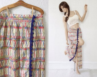 1960s Boho Maxi Skirt, Tribal Rainbow Embroidery over Off-White Cotton, Pom Poms in Blue, by Malbe Original, size Large L or XL, Vintage