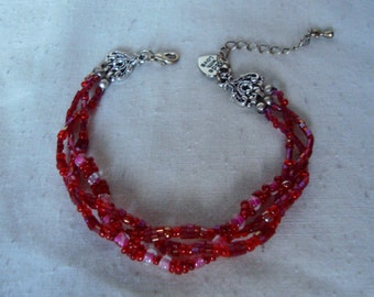 Braided Bead Bracelet - Red