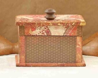 keepsake box, wood box, shabby chic, rustic chic, paisley, pink, brown