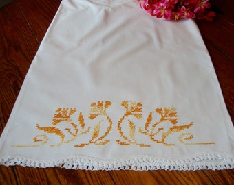 Floral Embroidered Pillowcase Single Vintage Orange and Gold Flowers Bed Linens Bedding