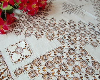 """Antique French Tablecloth Linen White Lace Tablecloth 100"""" x 86"""" Heirloom"""