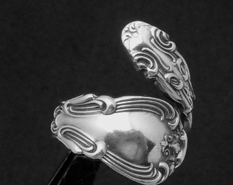 Antique Victorian Gorham Chantilly Sterling Silver Spoon Ring Ornate 22279
