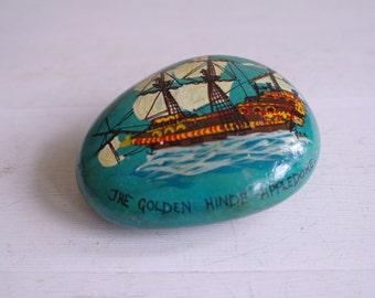 Vintage Painted Pebble - The Golden Hinde, Appledore, Signed GAH