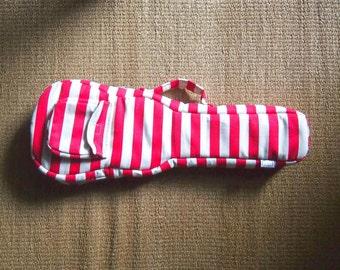 Concert ukulele case - Red and Creamy white stripe ukulele bag (Made to order)