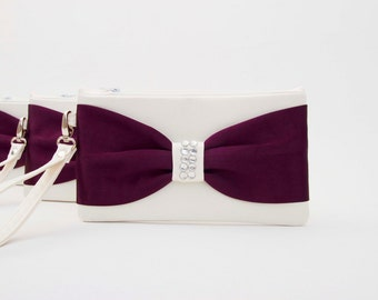 BIG SALE - Bridesmaid clutch ivory  purple ,evening pouch , bow wristlet clutch,bridesmaid gift ,wedding gift ,zipper pouch , Piece 9.90 USD