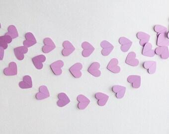 Purple Heart Garland, Purple Garland, Purple Hearts, Paper Hearts, Baby Shower Garland, Bridal Shower Garland, Valentine Garland