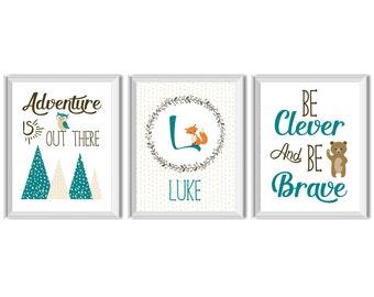 Woodland Nursery Art Boy, Woodland Nursery Decor Boy, Adventure is Out There, Be Clever, Be Brave, Name, Monogram, Baby Boy, Fox, Bear, Owl