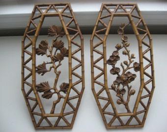 SALE Set of 2 Vintage 1970s Retro HOMCO Wall Hanging Plaques// Made in USA