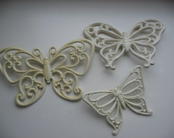 Set of 3 Vintage 1970s Homco Butterfly Wall Plaques Made in USA//Paintable Art Craft Project// Nursery/Child's Room Decor