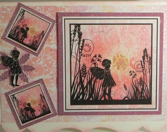 Pink Fairy Glittered any occasion card with matching gift tag and envelope