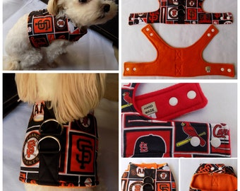 Dog Vest Harness  San Francisco Giants Baseball Team print Dog Vest Harness  for Small Breed Dogs or Cats