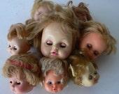 vintage doll heads, group destash, bad hair day, creepy baby supplies, from Diz Has Neat Stuff