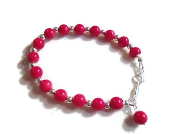 Red Bracelet - Coral Gemstone Jewelry - Sterling Silver Jewellery - Beaded