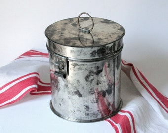 Vintage Tin canister, hand crafted coffee tin, tin container