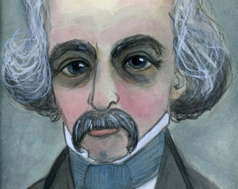Nathaniel Hawthorne, Art Print, Writers Portrait, Literary Illustration (6x8) Victorian Goth Home Decor, Gift for Writers