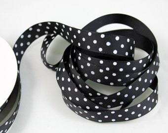 "5/8"" Dotted Grosgrain Ribbon - Black with White - 5 yards"