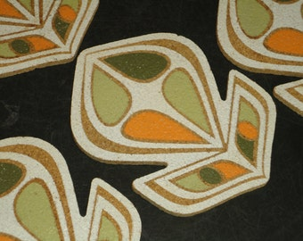 Set of Six Mid Century Modern Retro Cork Coasters Orange Green Mad Men MCM