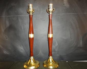 Pair Mid Century Modern Wood and Brass Table Lamps Danish Modern Sleek
