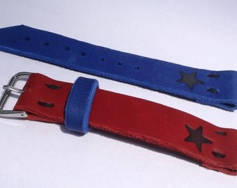 Texas leather watch strap Handmade hand crafted genuine leather watch strap