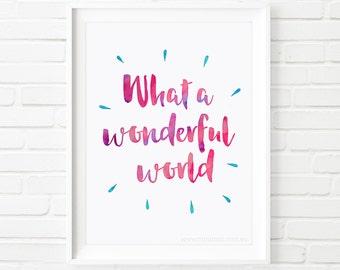 Kids prints, what a wonderful world, Printable Art, song lyrics, childrens decor, nursery decor, Louie Armstrong, children's print, children