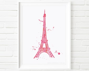 Paris printable, Printable Art, Eiffel tower, Home decor print, watercolour print, wall art, travel print, kids print, watercolor art