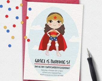 Wonderwoman Invitation, birthday invitation, kids invitation, Custom invitation, party invitation, superhero invitation, girl superhero
