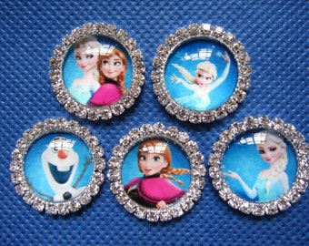 10 Frozen Inspired Let It Go Cabochon W/Rhinestone 21mm A001-1