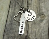 Personalized adoption necklace with name and date, hand stamped stainless steel