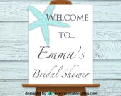 Printable Starfish Bridal Shower Welcome Sign, Beach Wedding Poster by Event Printables