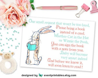 Velveteen Rabbit Bring a Book Card, A1 Printable Baby Shower Invitation Insert Card, DIGITAL FILE by Event Printables