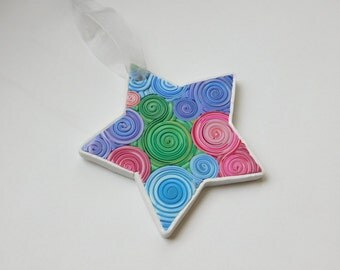 Polymer Clay Star Ornament, gift tag, Star shaped Christmas Tree Decoration