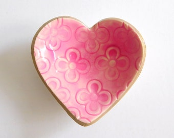 Pink Heart Shaped Ring Dish, polymer clay bowl