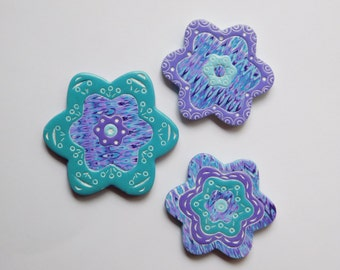 Refrigerator Magnets, polymer clay flower magnets, set of 3 purple and turquoise fridge magnets