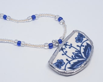 OOAK Blue and White China Silver Soldered Piece Pendant on a Beaded Necklace