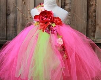Custom Made Tutu Dress - Fuchsia GreenTutu Dress - Spring theme Flower Girl Dress -  Spring Wedding  - Green Fuchsia Dress