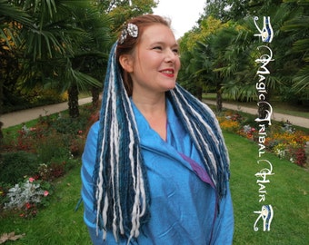 DREADLOCKS Silver Mermaid DREAD FALLS siren dreads hair extensions Cosplay costume hair fall 112 dreads Tribal Fusion Belly Dance hair piece