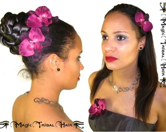 WEDDING HAIR FLOWERS red bridal orchid hair jewelry Bride flower headpiece Bridesmaids hair flowers Tribal Fusion Belly Dance hair accessory