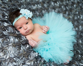 Aqua Tutu, Newborn Tutu, Flower Headband, Matching Set, Photo Prop