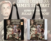 Chinese Crested Dog Art Tote Bag - Rear Window Movie Poster NEW Collection by Nobility Dogs