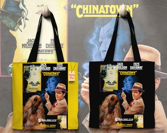 Afghan Hound Art Tote Bag Chinatown Movie Poster   Perfect DOG LOVER Gift for Her Gift for Him