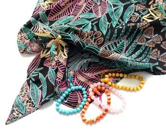 Botanical Scarf Triangular Pastel Colors + BONUS Lot of 4 Bracelets Matching Stretchy Chakra Bracelets Black Shoulder Scarf Tropical Leaves
