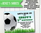 SOCCER INVITATION - Printable Football Birthday Invite - Personalized DIY - Sports Banquet or Baby Shower invitation