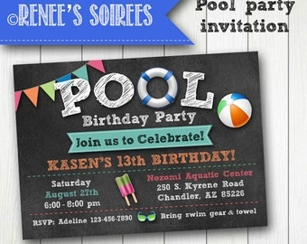 POOL PARTY Invitation - Printable Birthday Invite - for Boys or Girls - Personalized diy