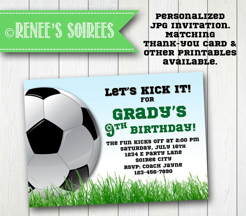 It is a picture of Peaceful Soccer Invitations Printable Free