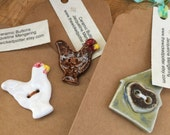 Custom Order Ceramic House Button -  2 Brown Chickens - 1 White Chicken - Focal Buttons - Large Buttons - Artisan Button - Fastener - Jewelr